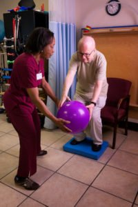 Physical Therapist Handing Exercise Ball To Patient
